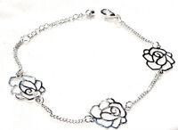 Bijou alliage argenté bracelet fleurs  filigrane bangle