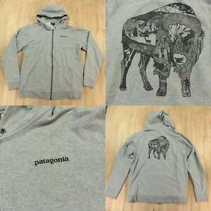 Patagonia full zip illustrated buffalo midweight sweatshirt XL gray 39434