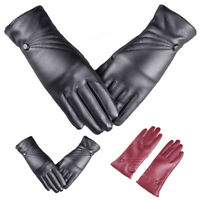 Women's PU Leather Winter Warm Driving Soft Lining Thermal Gloves Touch Screen