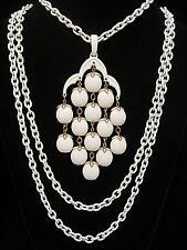 "Rare Vtg 16"" Crown Trifari Goldtone White Enamel Lucite Bead Waterfall Necklace"
