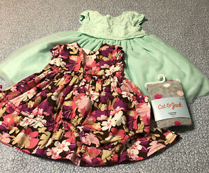 Lot of 2 Baby Girls size 12 M Dresses ,Tights Just One You By Carter's EUC