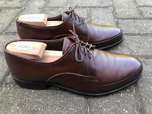 Walk Over dress shoe, 8.5E, pebbled brown, derby, leather, arch support USA