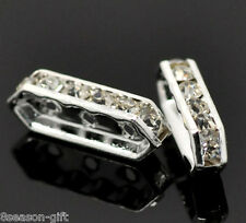 50 Silver Plated Clear Rhinestone 3 Holes Spacer Bars 18x6mm