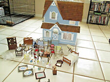 Antique Dollhouse Wooden Doll House Victorian + Miniature Accessories