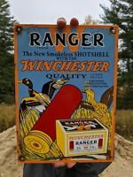 VINTAGE 1964 WINCHESTER RANGER AMMUNITION PORCELAIN ADVERTISING SIGN REMINGTON