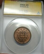 Angola 2 Centavos 1921 ANACS MS63RB Lots of Luster