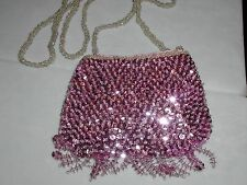 SMALL SEQUIN PURSE EVENING BAG PINK GLITTERING FOR PROM WEDDING FORMAL EVENT NEW