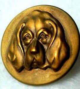 """Vintage Hound Dog Button, Stamped Brass Escutcheon on Brass Back, 1"""""""