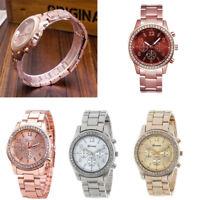 Fashion Geneva Quartz Analog Stainless Steel Band Women Crystal Wrist Watch Gift