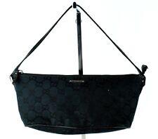 Auth GUCCI GG Black Canvas & Tan Strap Leather Mini Hand Pouch Accessories Bag