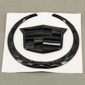 "Black FOR CADILLAC Front Grille Hood 6"" Emblem Ornament Badge Logo Symbol Glossy"