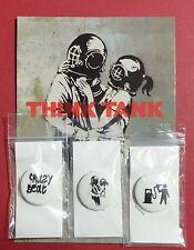 Banksy Think Tank Blur Postcard Print Promo Pin Badges  *SPECIAL RARE* Genuine