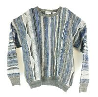 VTG Norm Thompson Coogi-esque Blue Gray 3D Textured Sweater Size L Cosby Biggie