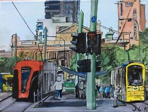 Trams of Adelaide South Australia - original unframed acrylic painting on canvas
