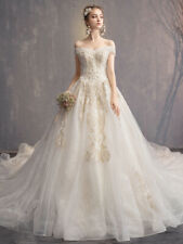 Elegant off shoulder wedding dress full-length ball gown lace dress