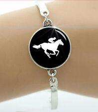 HORSE & WESTERN JEWELLERY JEWELRY WOMENS HORSE RACING  BANGLE BRACELET SILVER