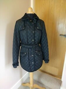 Next Black Coat Jacket Size M 10-12 Country Style Quilted Belted  VGC