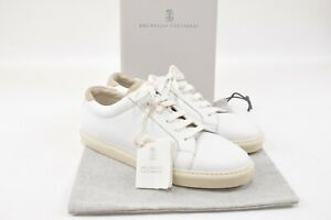 Brunello Cucinelli NWB Sneakers Size 44 11 US In White With Tan Details