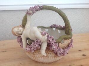 "Antique Porcelain  AMPHORA  Putti / Cherub basket  Czechoslovakia  8"" high"