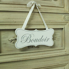 Pretty white wooden hanging door plaque sign shabby vintage chic Boudoir