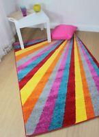 Modern Funky Brights Spark Rainbow Multicolour Rug in 3 sizes