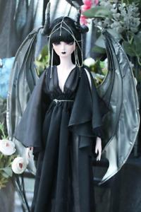 1/6 1/4 1/3 SD16 EID BJD Outfit Clothes Dress Black Dragon Gown+Waist&Head Chain