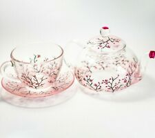 Tea Set Teapot with Cup and Saucer Glass Pink Cherry Blossom Custom Personalize