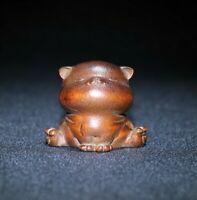 fengshui Noble boxwood carve cute dog zodiac statue Japanese Netsuke home decor