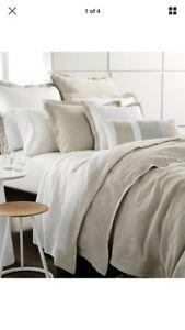 Hotel Collection Linen Natural F/Queen Duvet Comforter Cover+2 Standard Shams