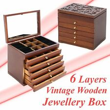 6 Drawers Jewelry Cabinet Armoire Box Storage Stand Organizer Necklace Wood