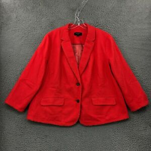 Talbots Blazer 20W Womens Plus Size Long Sleeve Formal Wear Cotton Blend Red