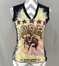Moda USA Medium Top Sleeveless Rodeo Rhinestone Bull Cotton Womens kfp1