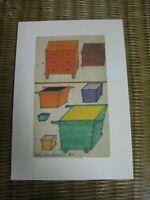 Colorful Art Prints Primitive American Furniture Hutch Slant Top Lemon Rose Box