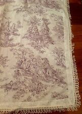 French Country Toile Tablecloth Cloth Table Topper Fringe Mauve 40x42cm