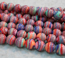 8mm Red Multicolor Stripe Turkey Turquoise Gem Round Loose Beads 15""