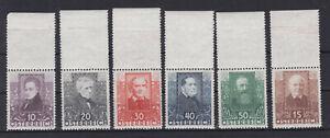 Ö 1931 Österreichische Dichter Postfrisch ** MNH 524 - 529 ANK € 250,-- Oberrand