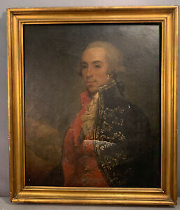 LG Antique 18thC Style WHITE WIG Old ARISTOCRAT GENTLEMAN Oil PAINTING & FRAME