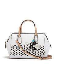 NWT GUESS Bianco Nero Laser Cutout Frame Satchel Handbag Purse White