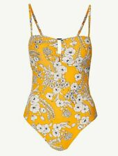 BNWT M&S Yellow Floral Secret Slimming Bendeau Swimming Costume Swim Suit 20