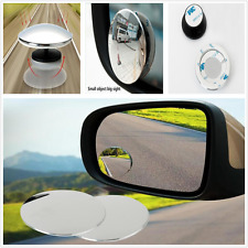2Pcs Car SUV Round Stick On Rear-view Blind Spot Convex Mirrors Aluminum Color