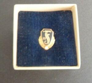 Vintage Fostoria Glass 25 Year Service Pin Marked Gold Diamond Dieges & Clust