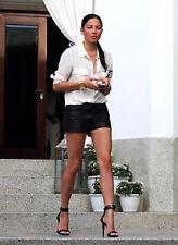NLC 100% genuine leather women black high waist shorts 38 M pants leder cuir