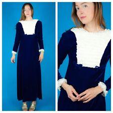 Blue Velvet + White Lace Vtg 60s Mod Babydoll Maxi Party Formal Party Dress Xs/S