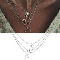 Frauen Moon Circle Multilayer Silber Halskette Charme Modeschmuck