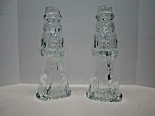 2 Vintage Santa Clear Glass Candle Stick Holders Christmas Decor