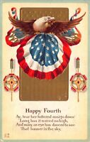 Two Postcards Fourth 4th of July American Flag Eagle Fireworks~123029