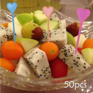 50pcs Plastic Disposable Forks Stick Food Picks Heart Arrow Dessert Fruit Fo SX