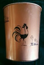Vintage Medium Ransburg Hand Painted Trash Can Waste Basket Umbrella Bin Rooster