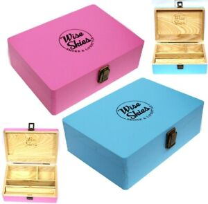 Wise Skies Pink or Blue Rolling Box Smoking Paper Holder Wooden Rolling Storage