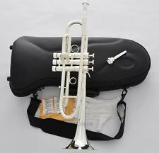 Professional Silver Plated Heavy Trumpet Monel Valve Horn 2 Mouthpiece With Case
